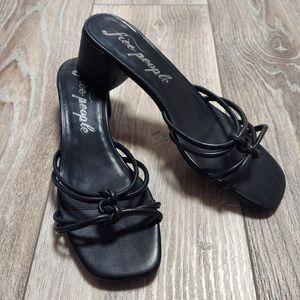 Free People Petra Black Leather Knot Heel NEW